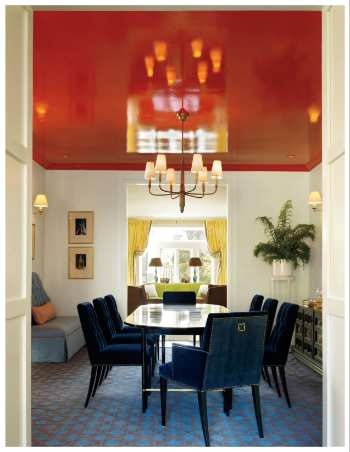 lacquered ceiling - really adds something important to the room