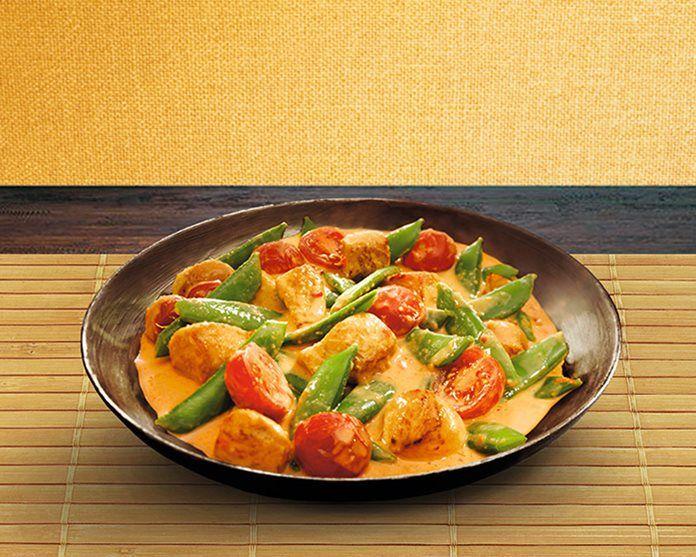 Rode Curry met kip en peultjes