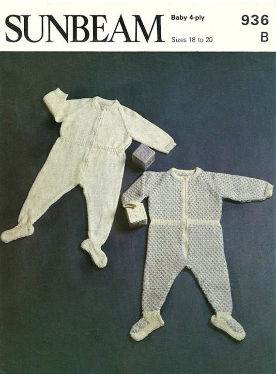 PDF Vintage Baby Knitting Pattern Sunbeam 936 Romper Zipper