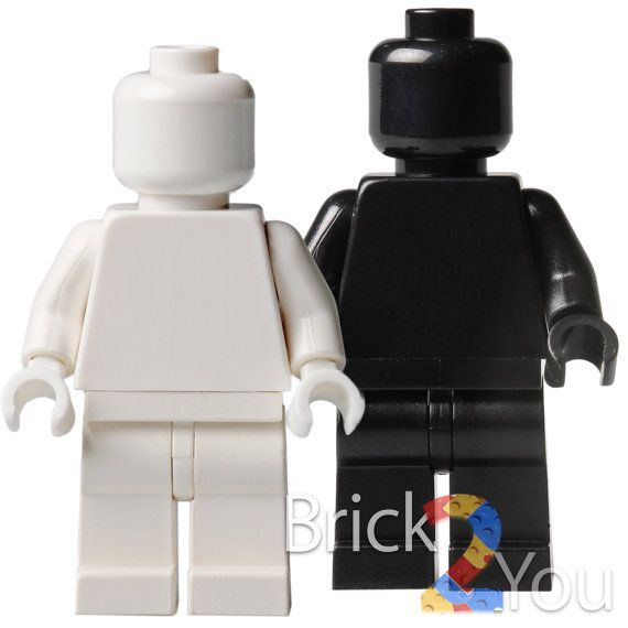 Lego Custom White and Black Plain Minifigure by Brick2you on Etsy