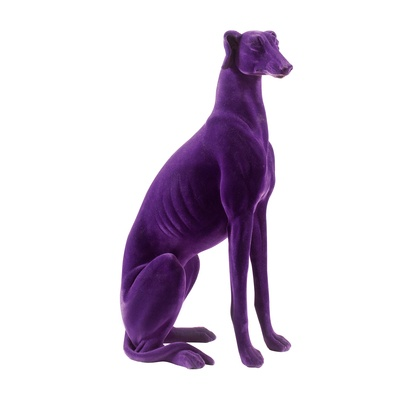 47 The purple flock dog is part avant garde sculpture, part interior decoration and part family pet. Perfect as an ornamental piece next to your sofa or front door, this flock covered resin dog looks realistic (apart from the purple colouring) but requires no feeding!