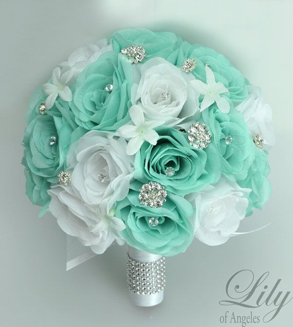 17 Piece Package Wedding Bridal Bouquet Silk by LilyOfAngeles