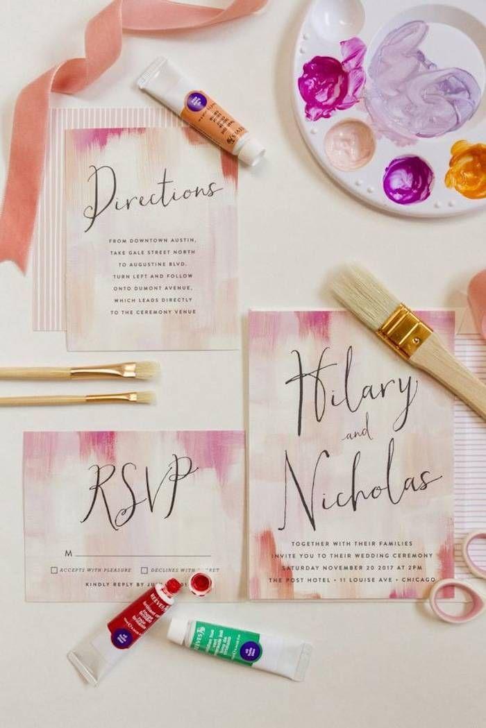Brilliantly colorful wedding invitations by Minted via Coastal Bride