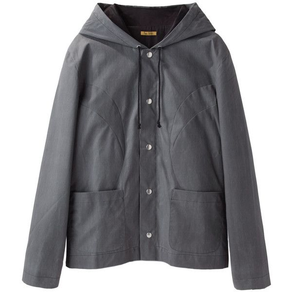 Peter Jensen Rain Jacket (1.330 VEF) ❤ liked on Polyvore featuring outerwear, jackets, coats, coats & jackets, tops, black jacket, black rain jacket, waterproof jacket, snap front jacket and black hooded jacket