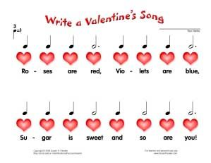 6ca8333cc9f438d4db5b6e9f10df2cee valentine music valentines day music lessons - A worksheet for little ones to write their own Valentine Song. Cute :)