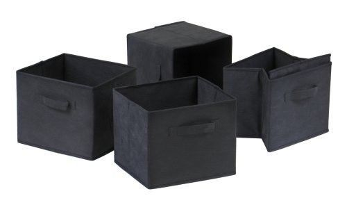 Foldable Fabric Baskets 4 Pc Black Collapsible Storage Bins Cube Organizers Home #Winsome