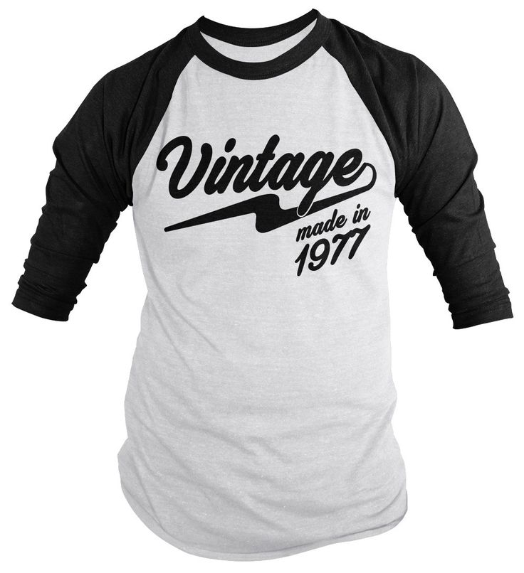 Shirts By Sarah Men's Vintage Made In 1977 40th Birthday Raglan Retro 3/4 Sleeve Shirts