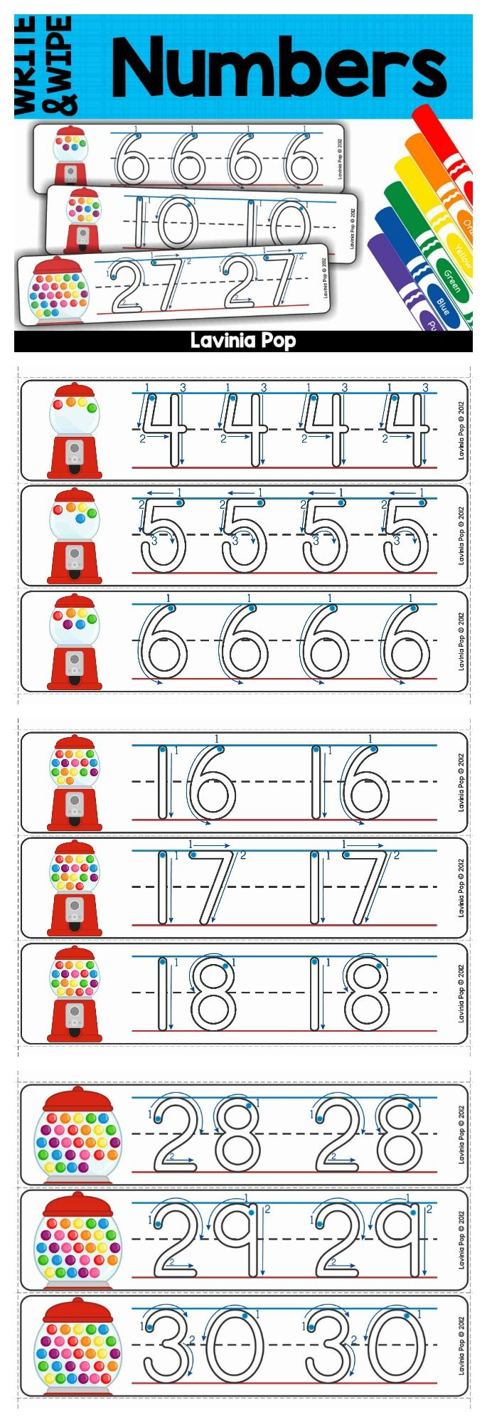 Write and Wipe number cards with arrows to show correct number formation (several options included for number 5).