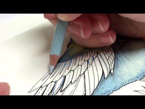 ASMR Adult Coloring Enchanted Forest Blue Bird 10 Blended Pencil Prismacolor Premier