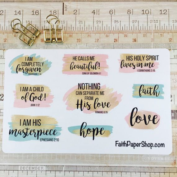 Christian Scripture stickers for Bible Journaling or Planner. Happy Planner, Erin Condren, Crossway ESV, bible verse, illustrated faith.