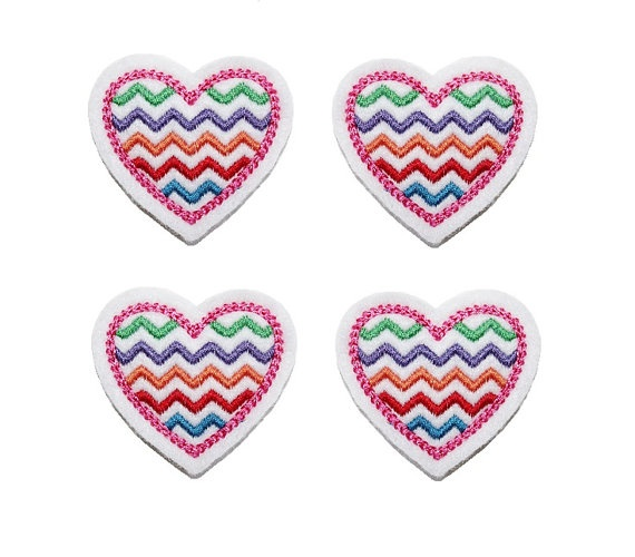 Chevron Embroidered Felt Heart applique by EmbroiderThat on Etsy, $3.95
