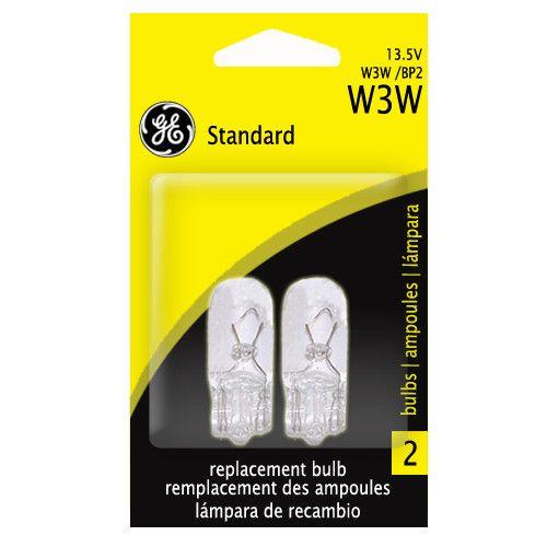 GE W3W 3w 13.5v T3.25 Wedge Base Automotive lamp - 2 Bulbs