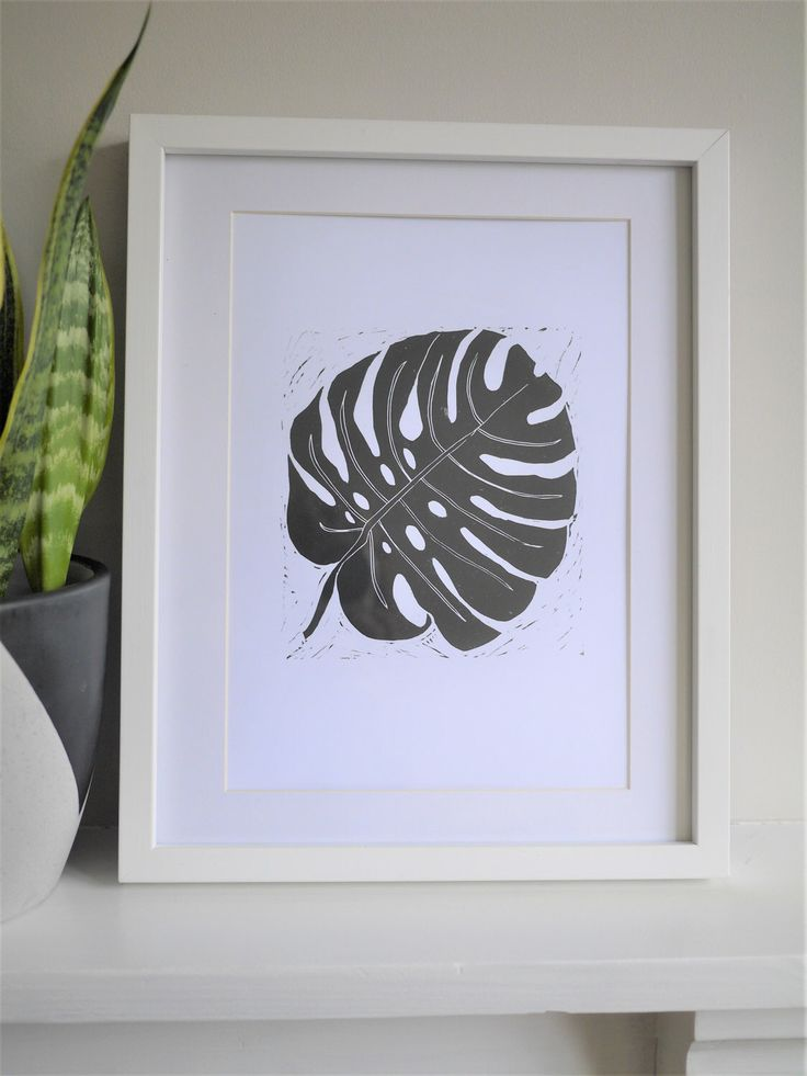 Monstera Cheese Plant A4 Lino Print Art Hand Printed Original Home Gift /// Monstera Deliciosa Leaf by TheBlackPugPress on Etsy https://www.etsy.com/uk/listing/509281413/monstera-cheese-plant-a4-lino-print-art