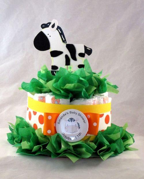 Baby Zebra Diaper Cake Centerpiece (2 Sizes) - Great for Wild Animal Themed baby Shower