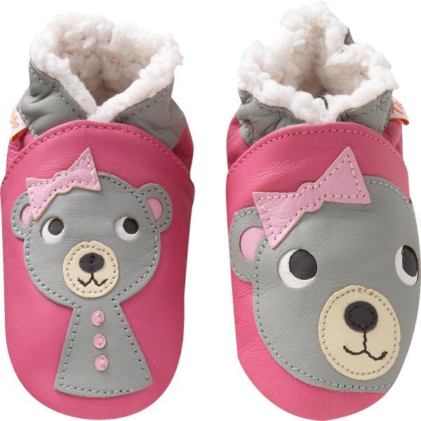 Chaussons bébé cuir souple fourrés Les oursons filles roses - Chaussons bebe cuir - chaussons bébé en cuir - chaussons en cuir souple - Tichoups