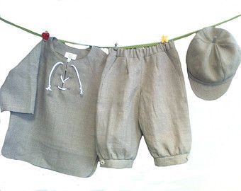 Boys linen suit grey linen costume boys linen set by EcoEmi
