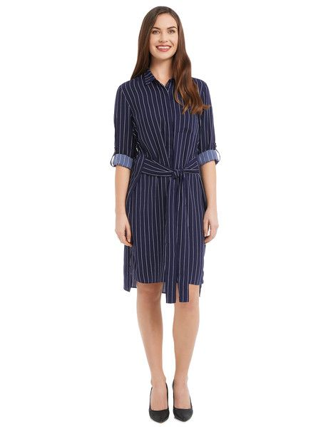 Dark blue shirt dress with white pin stripe, tie belt with roll-up sleeves features button front with one breast pocket and side split on both sides.