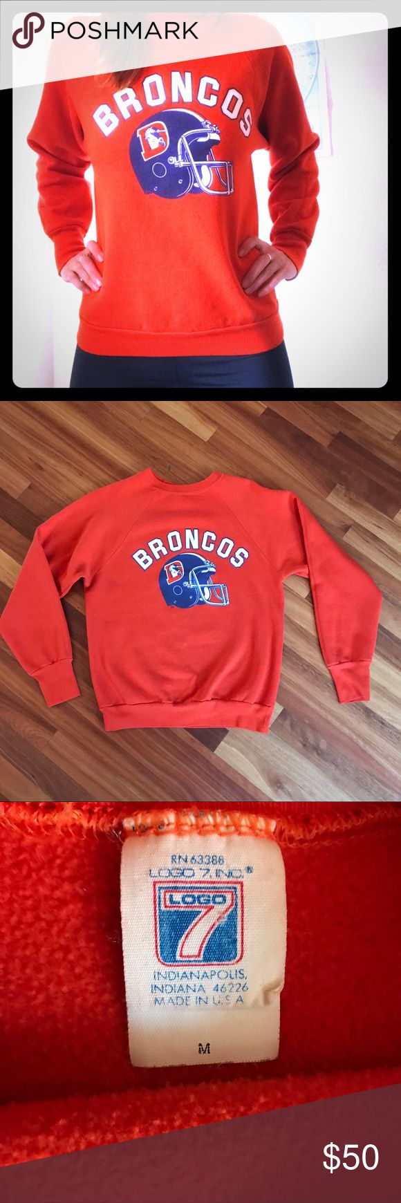 "Vintage 80s Denver Broncos Sweatshirt Rare vintage Denver Broncos NFL raglan style sweatshirt with retired classic helmet logo. Super soft 50/50 cotton/polyester blend. Tag reads size M, but fits more like a modern day small.   USA made by Logo7 In excellent vintage condition, no tears or stains.   Measurements: arm pit to arm pit: 19"" collar to sleeve: 28.5"" shoulder to waist: 24""  * model is 5'7"" 115lbs & wears size small Tops Sweatshirts & Hoodies"