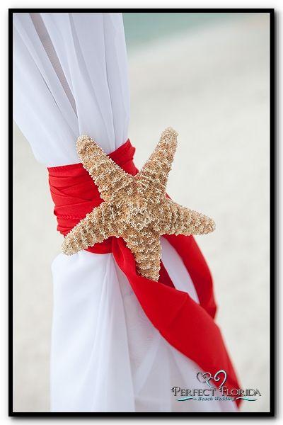 Red Starfish Florida Beach Wedding