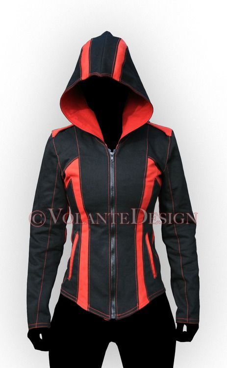 Women's Modern Assassin Armor.    This is the denim Modern Assassin Armor, women's style, in black/red. This particular version is intended for use as costuming in Assassin's Creed: Artefact 2 as well, for the 2nd of the 3 main characters.    Since the characters will be active in martial arts and acrobatic stunts, we designed special gussets for increased range of motion in the arms.