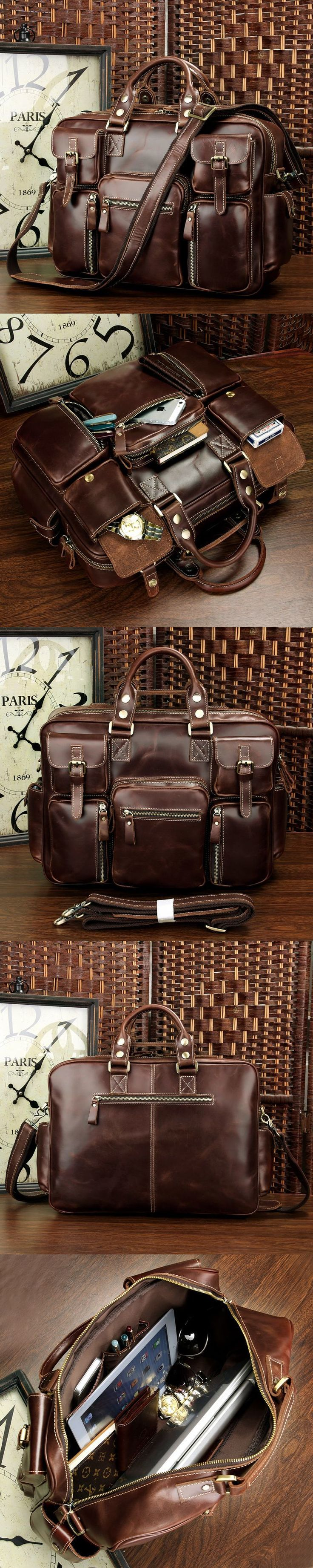 Leather Messenger Bag Vintage Handmade Antique Leather Business Travel Bag/Duffle Bag/Weekend Bag Leather Messenger Bag
