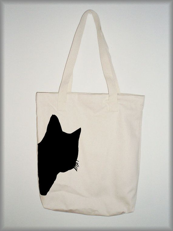 Artículos similares a Black cat print- Canvas tote bag en Etsy