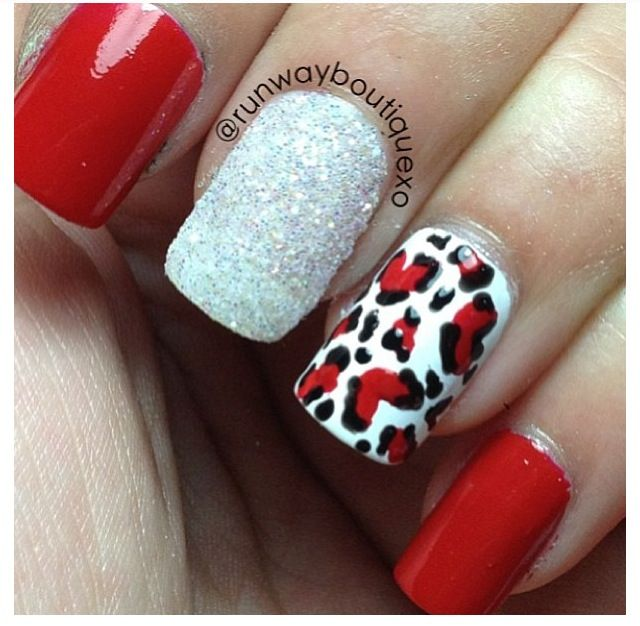 Red Leopard Print Nails Best 25+ Red ch...