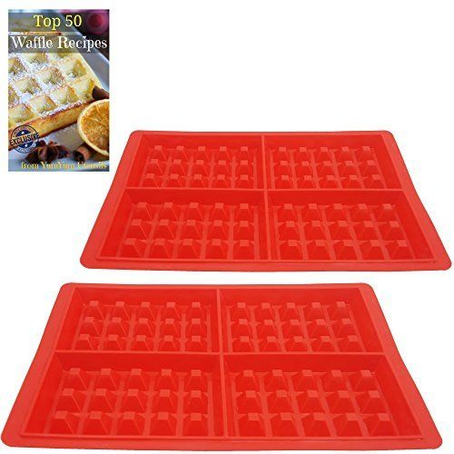 Now you can make perfect non-sticking waffles your family will love you for, and they won't take up all your precious time cleaning them! Wonderful waffles without sticking  Just add waffle mixture to your molds and pop them in the oven. Pop them out of the mold and return to the oven for a... - http://kitchen-dining.bestselleroutlet.net/product-review-for-best-belgian-waffle-maker-4-slice-double-pack-of-new-silicone-square-molds-make-8-waffles-at-once-non-stick-easy-to