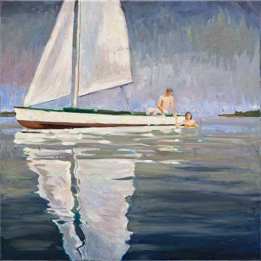 Sára Osgyányi - Zsóka's friends on a boat oil on canvas http://www.magma.hu/muveszek.php?id=57