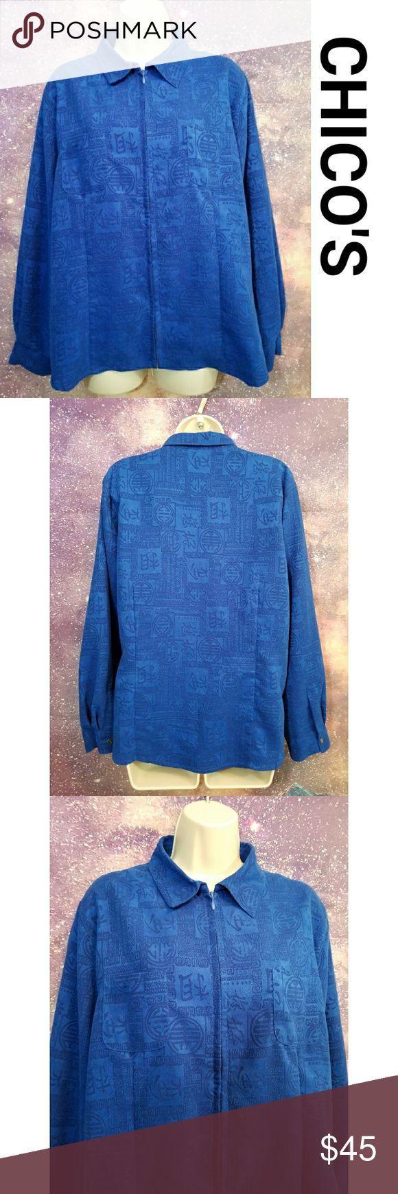 CHICO'S Design Blue Zip Up Jacket Size 2 Chicos Design Zip Up Jacket Chico's Tops Sweatshirts & Hoodies