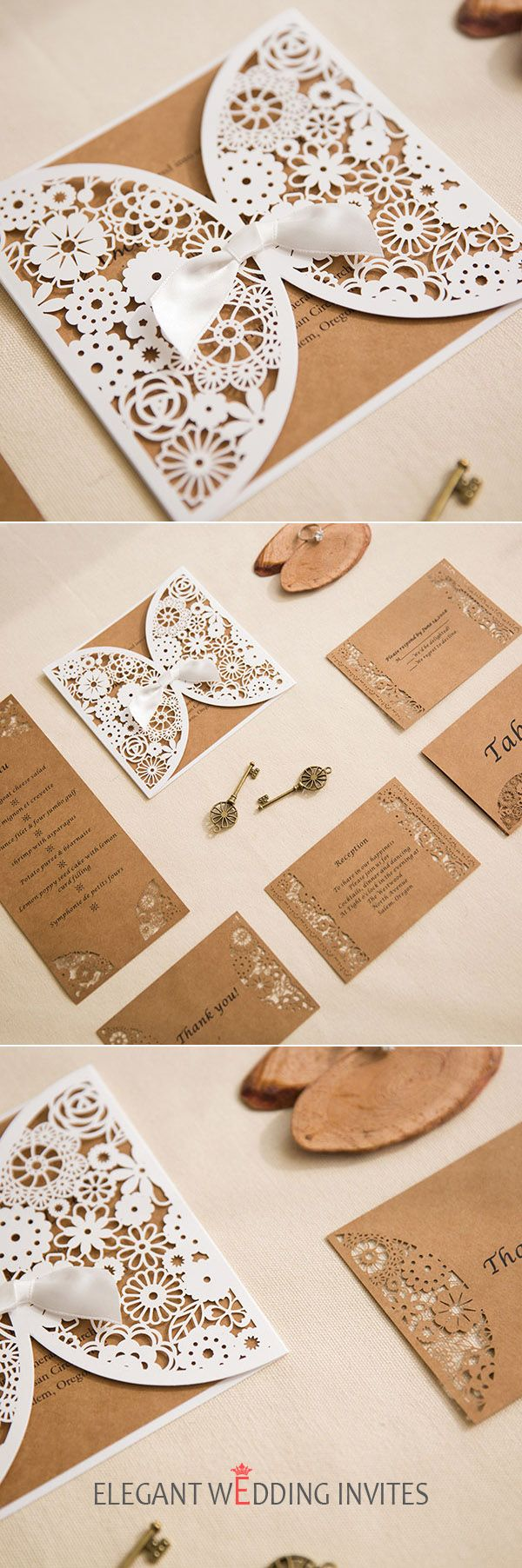 elegant vintage laser cut wedding invites with