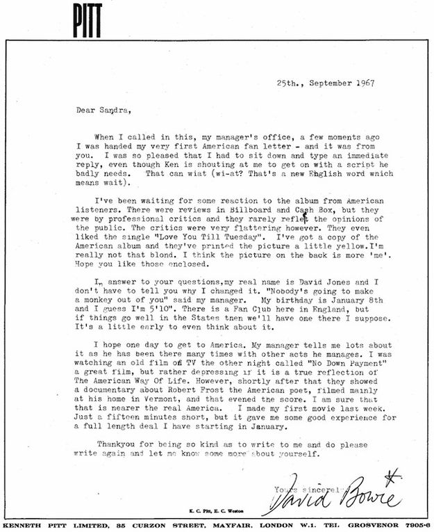 David Bowie's Response To His First-Ever American Fan Letter