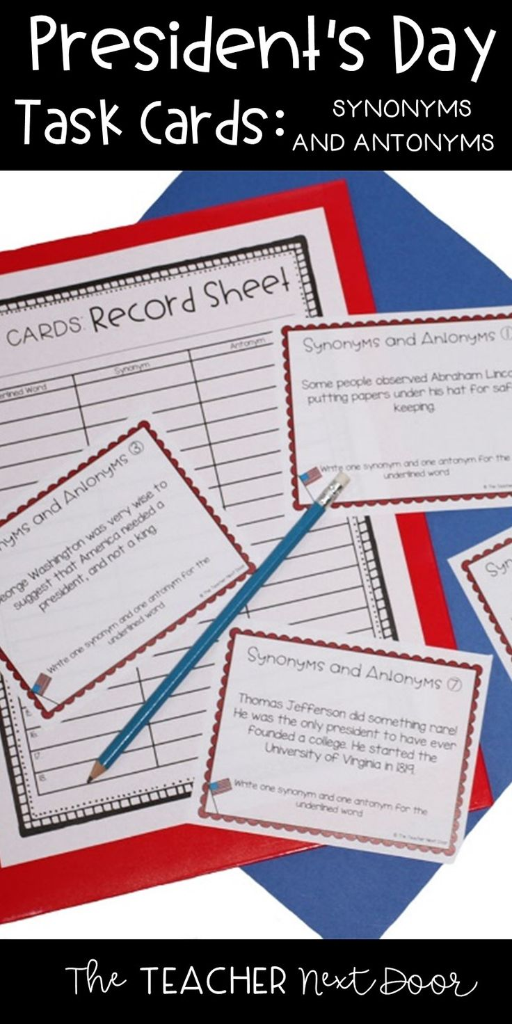 These 32 task cards are full of interesting bits of information about lots of our presidents that your kids will enjoy! Each card has a fact or piece of trivia and has an underlined word within the passage. Students use their record sheet to record a synonym and an antonym for the underlined word. Great practice for this language skill!