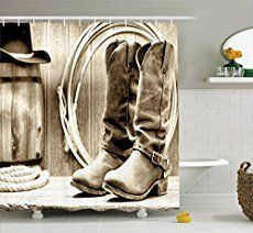 Western Shower Curtains in a variety of designs including vintage western, old west,  western movie, rodeo, cowgirls, cowboys, horses, boots, spurs, barnwood and other textures..  Home decor for the bathroom with a unique western touch.