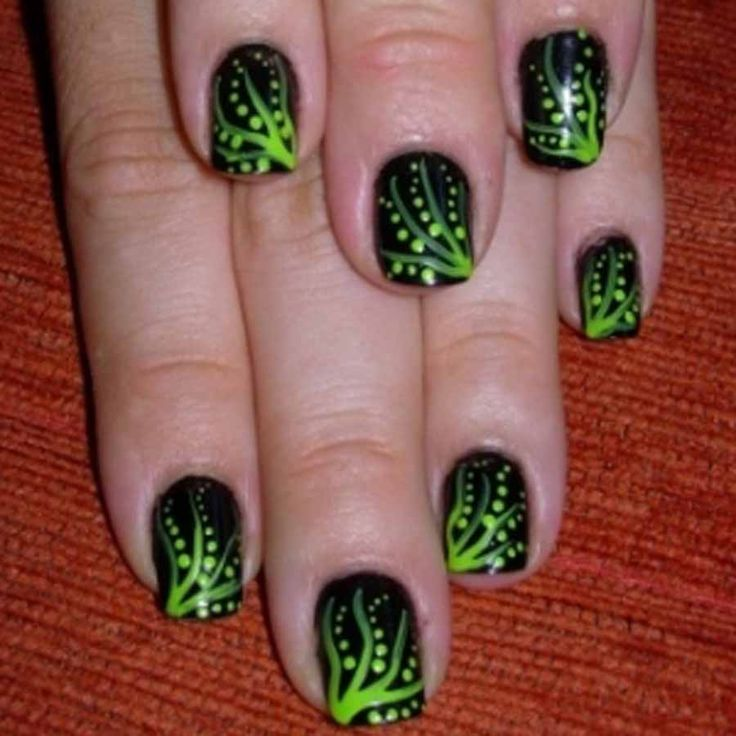 199 best green nail art designs images on pinterest breast pretty green floral stripes and dots motif on black nail art design idea for sho prinsesfo Choice Image