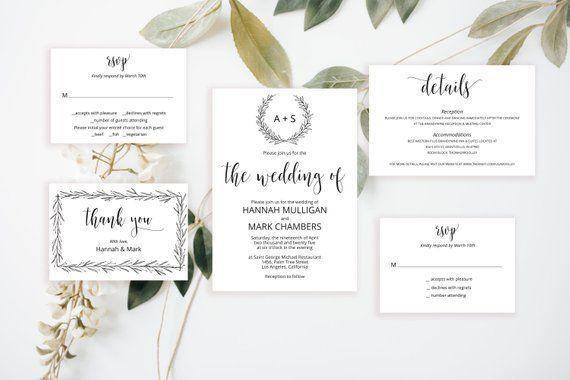 Printable Rustic Wedding Invitation Set Editable Temp Wedding Invitations Printable Templates Wedding Invitation Templates Rustic Rustic Wedding Invitation Set