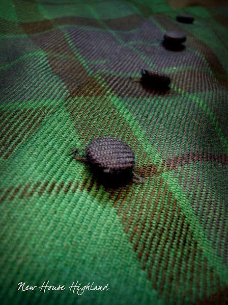 waistcoat detail, MacKay tartan, cloth covered buttons