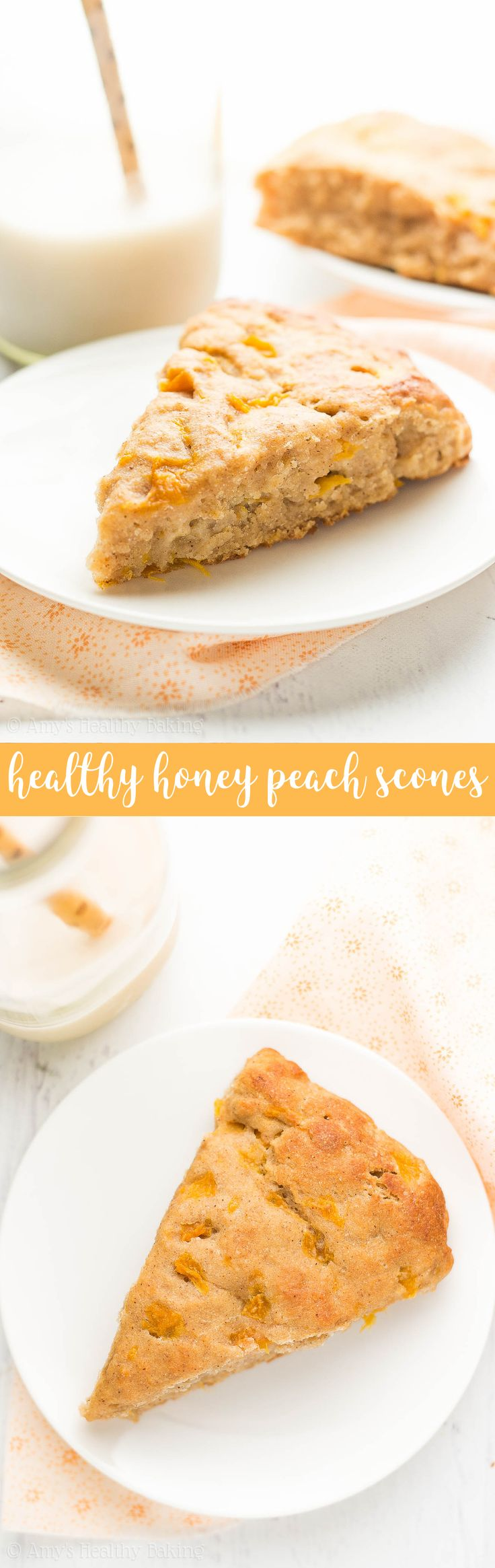 {HEALTHY} Honey Peach Scones -- ready in 30 min & only 141 calories! Perfectly tender & so easy to make. The definition of summer breakfast perfection!