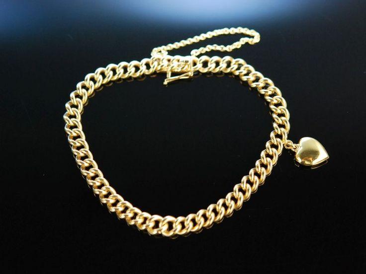 Exquisite Heart Bracelet! Klassisches hochwertiges massives Panzer Armband mit Herz Anhänger Gold 585 / 14 Karat 22,5 Gramm, exquisiter Goldschmuck bei Die Halsbandaffaire München