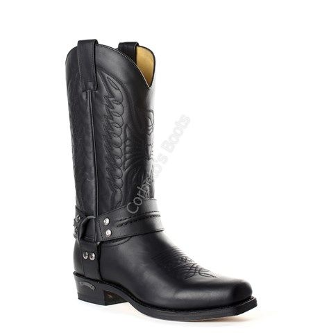 2621 Pete Pull Oil Negro | Sendra unisex black cow leather biker boots for sale at Corbeto's Boots.