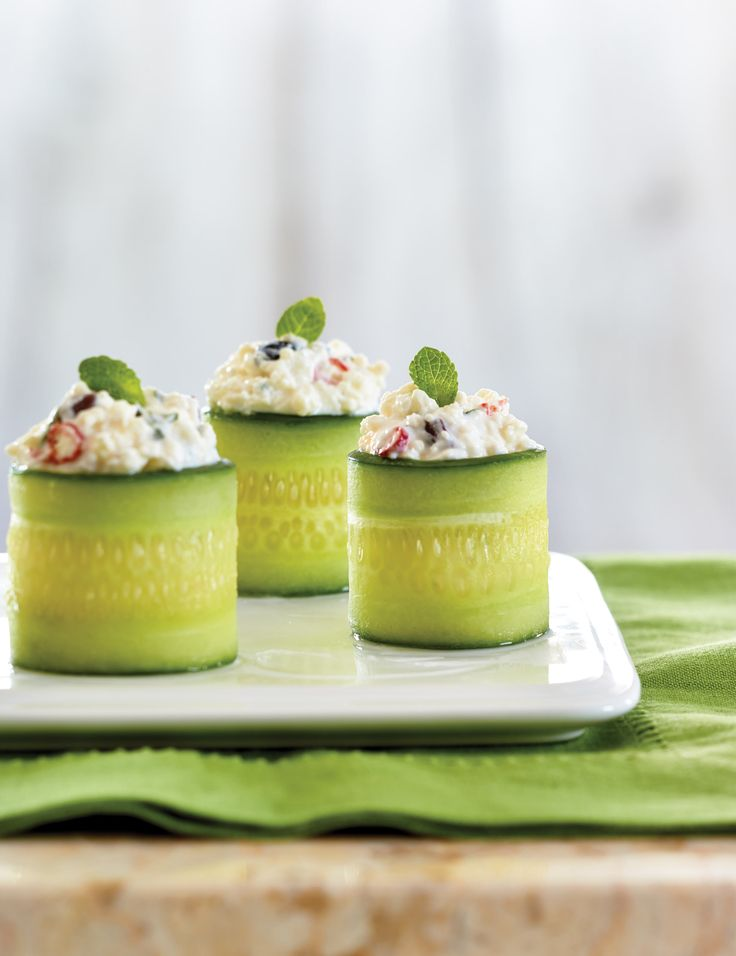 Cucumber Rolls with chili, feta cheese and mint