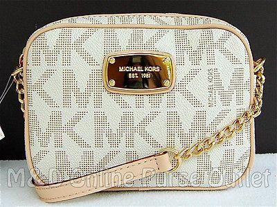 NEW Auth Michael Kors MK Signature Hamilton Small Crossbody Purse Bag ~ Vanilla $138.00