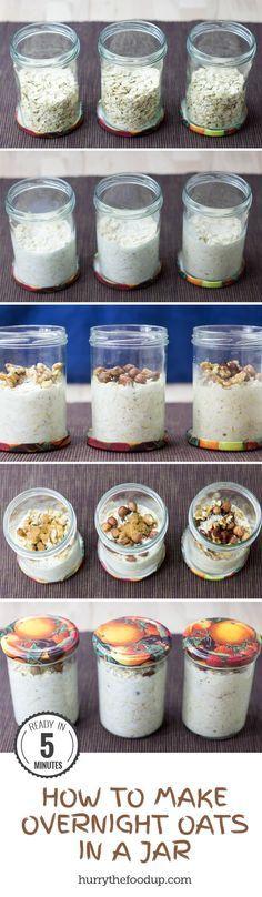 How To Make Overnight Oats in a Jar + 28 Tasty Overnight Oats Recipes #oats #breakfast | hurrythefoodup.com