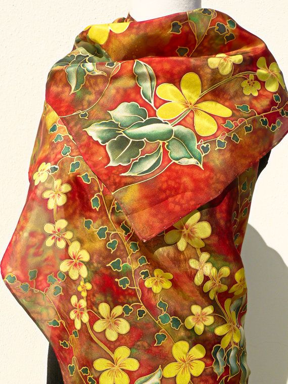 Party silk scarf Hand Painted. Yellow flowers red green by Irisit