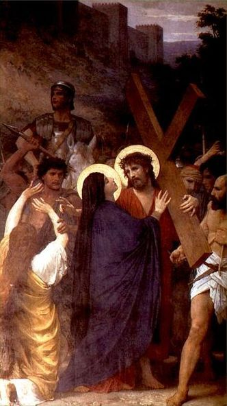 William Bouguereau - Christ Meeting His Mother on the Way to Calvary (oil on canvas, 1885)