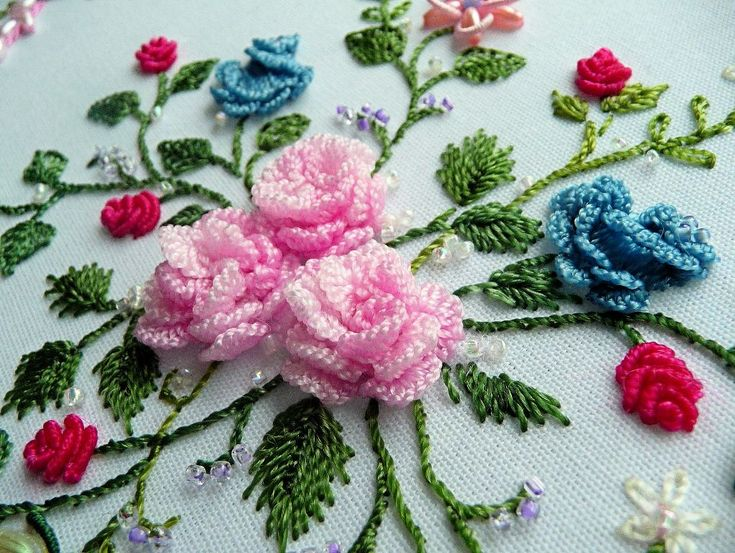 RosalieWakefield-Millefiori: Ruth's Mini-Roses, My Brazilian Dimensional Embroidery Interpretation