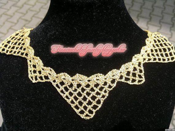 Crochet lace necklace golden thread by FineCrochetedJewelry, $45.00