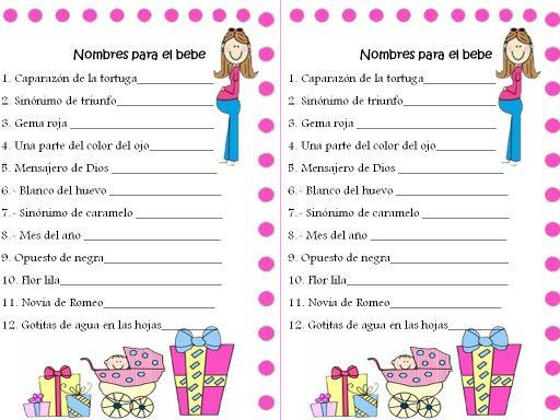Baby Shower Niña Juegos, Juegos Baby Shower Imprimir, Ideas Para Baby Shower  De Niña, Mirada Ducha, Juegos Eventos, De Juegos, Imprimibles Baby Shower  Niño,