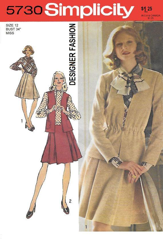 Simplicity 5730 Women's 70s Cardigan Vest and Dress by Denisecraft