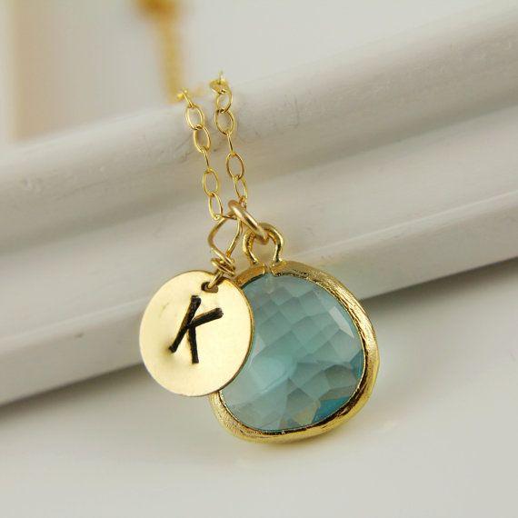 Monogram Necklace, Aquamarine